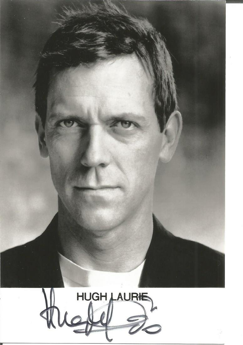 Hugh Laurie signed 6x4 black and white photo. Good