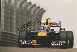 Mark Webber signed 12x8 colour photo racing for Red