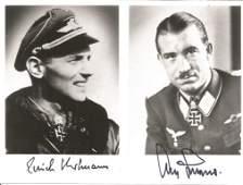 Luftwaffe aces Erich Hartmann and Adolf Galland signed