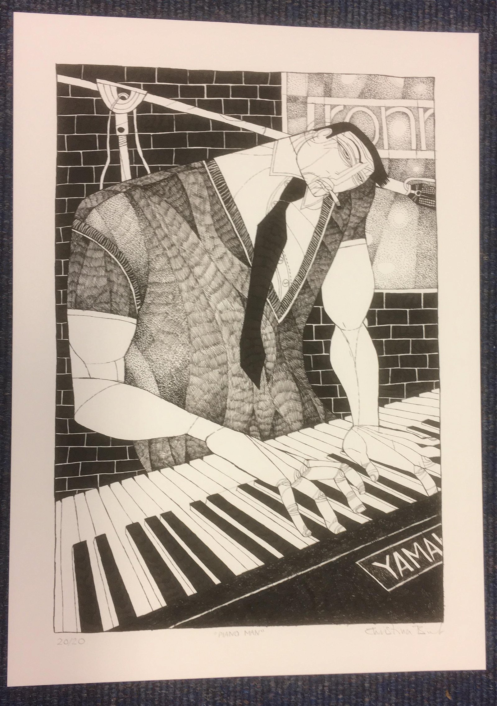 Piano Man rare signed music print by artist Christina