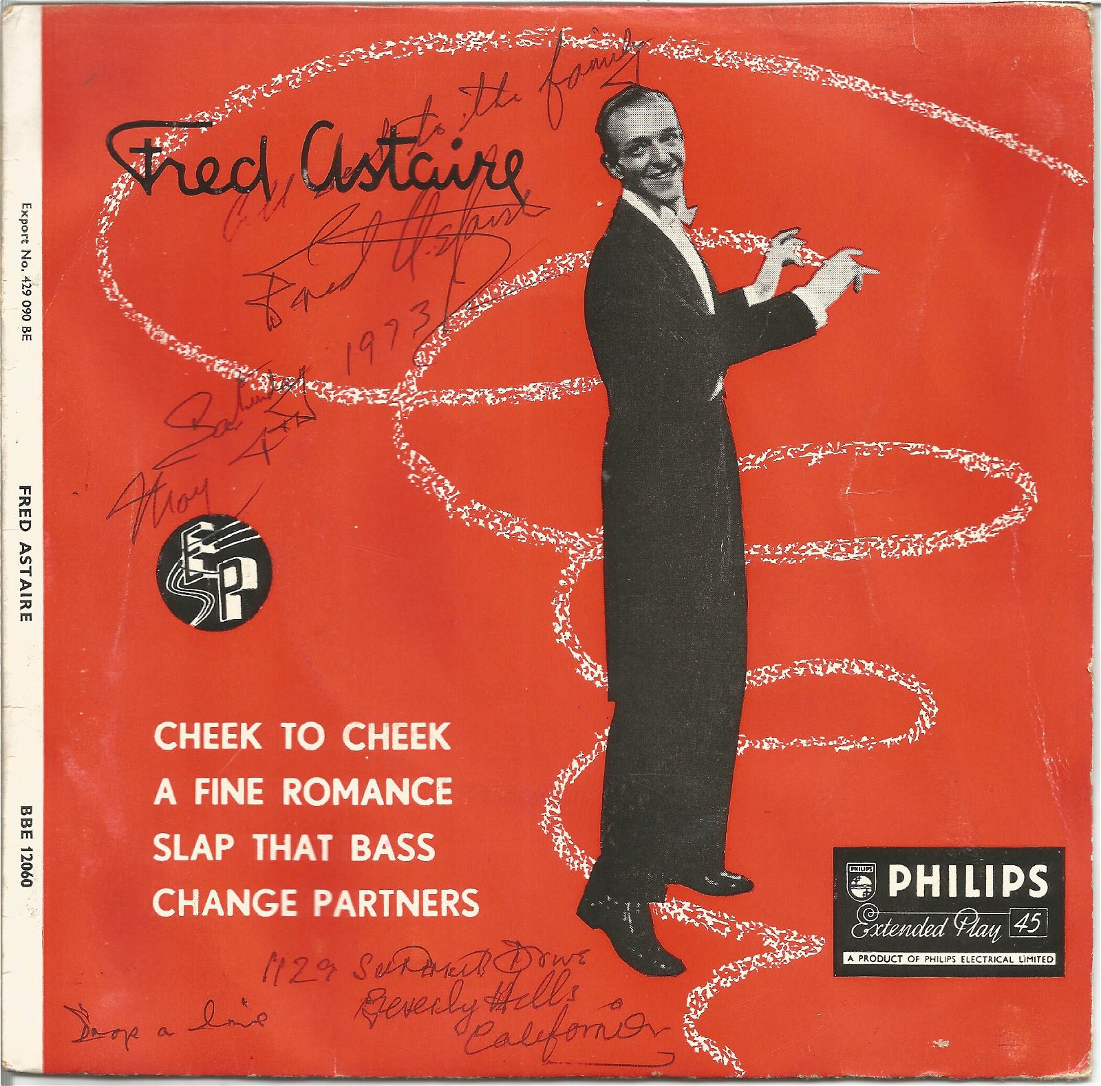 Fred Astaire signed 45rpm record sleeve. May 10, 1899 -