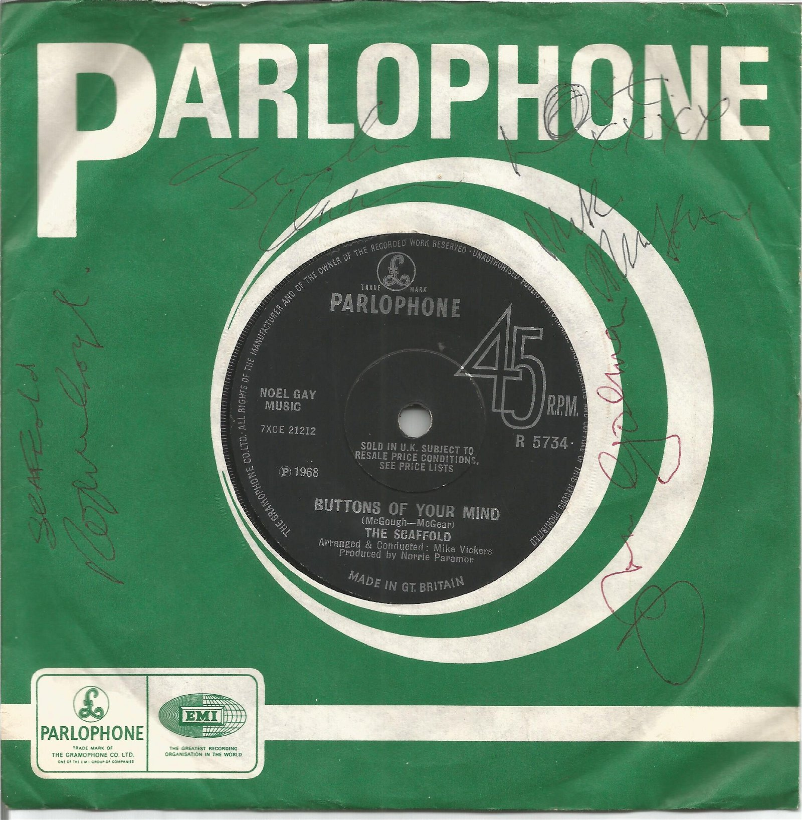 The Scaffold signed 45rpm record sleeve. Comes with