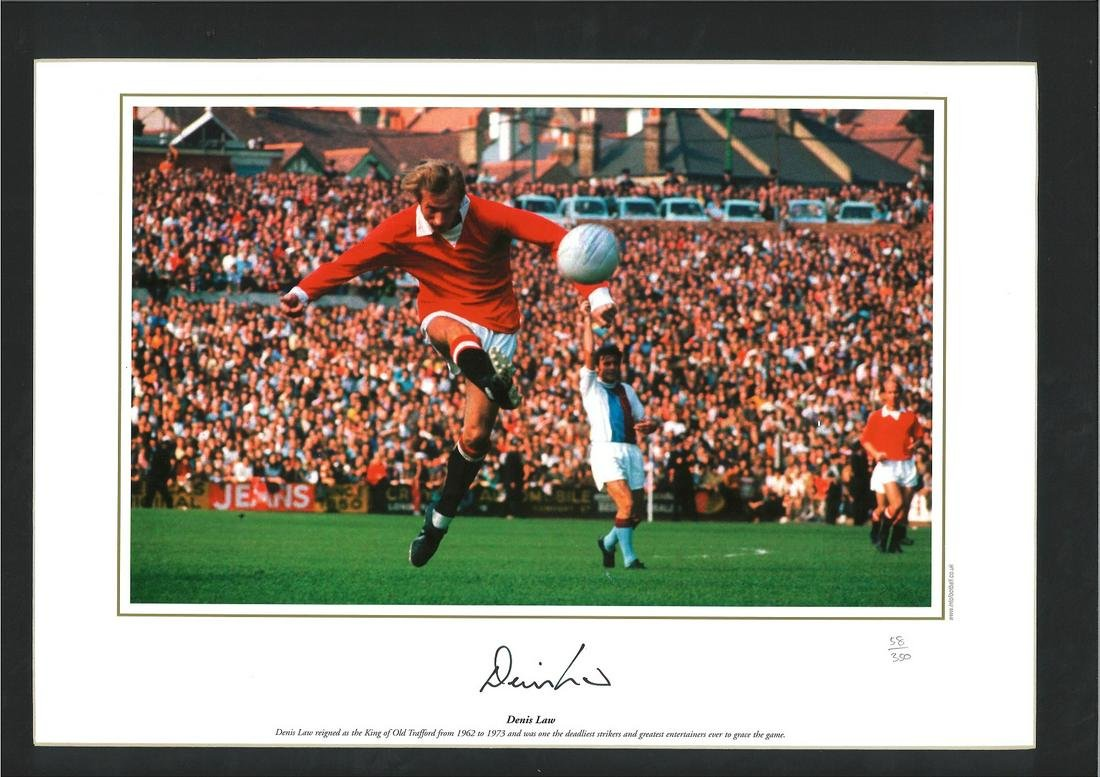 Football Denis Law signed 18x14 mounted colour photo