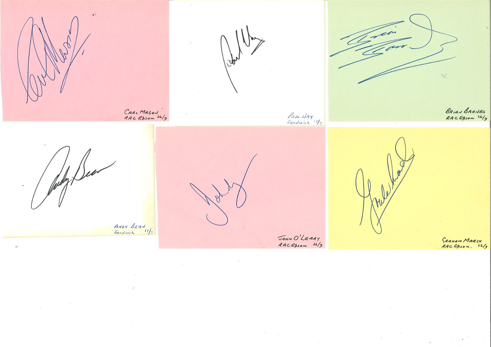 Signed album page collection. Includes John O'Leary,