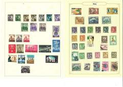 World stamp collection on 14 loose album pages