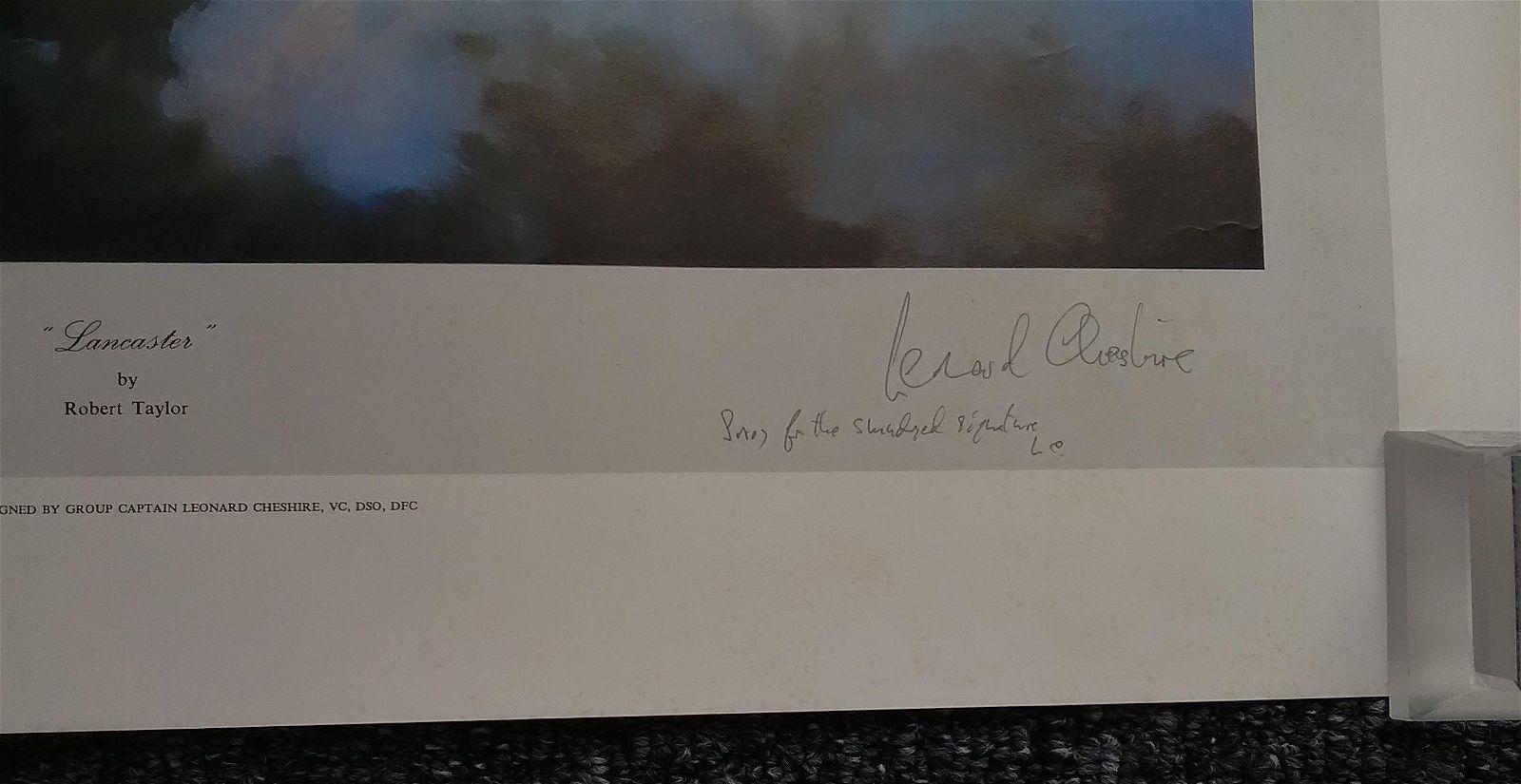 Lancaster Leonard Cheshire VC signed WW2 Robert Taylor