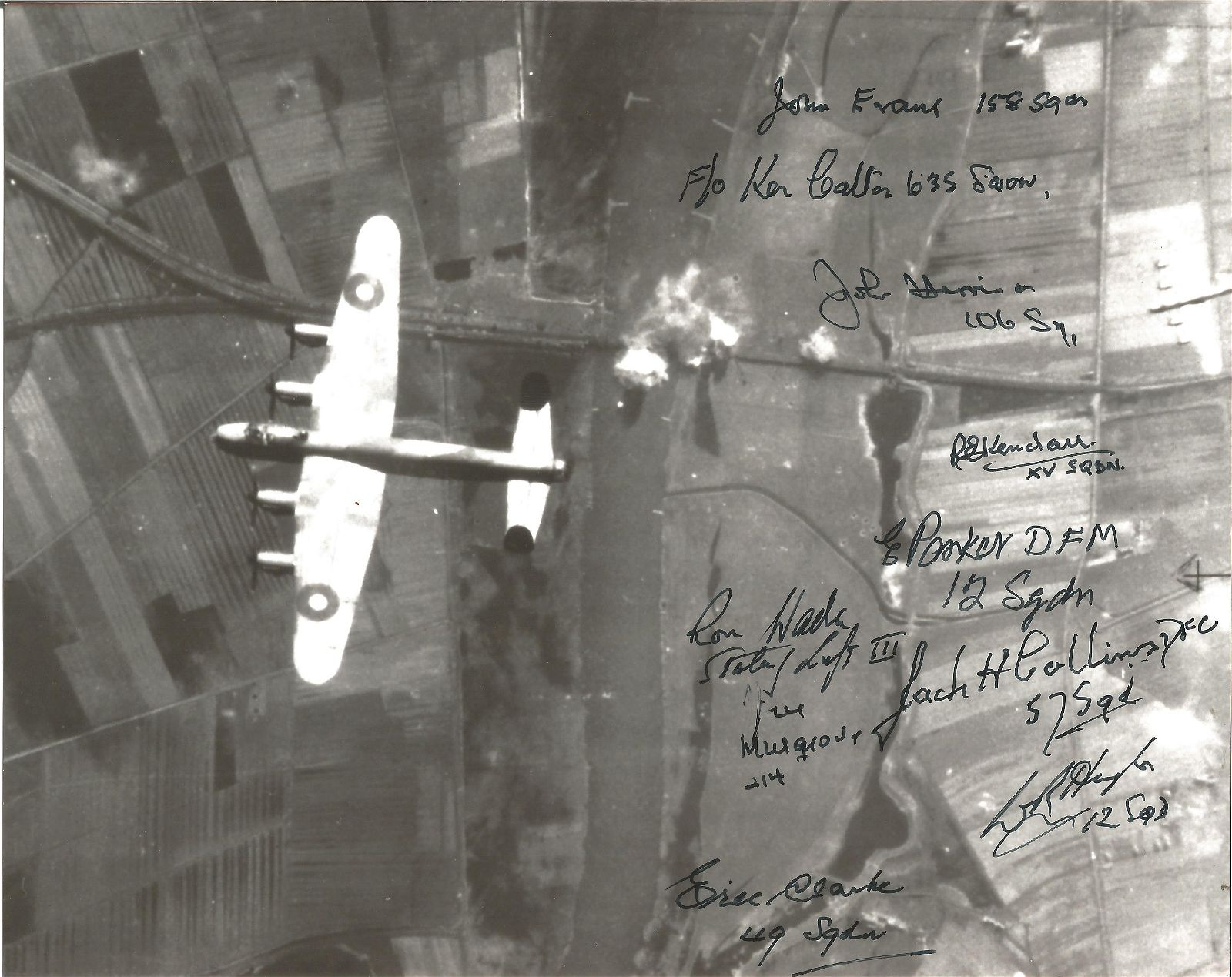 Lancaster Over Target 10x8 black and white photo signed