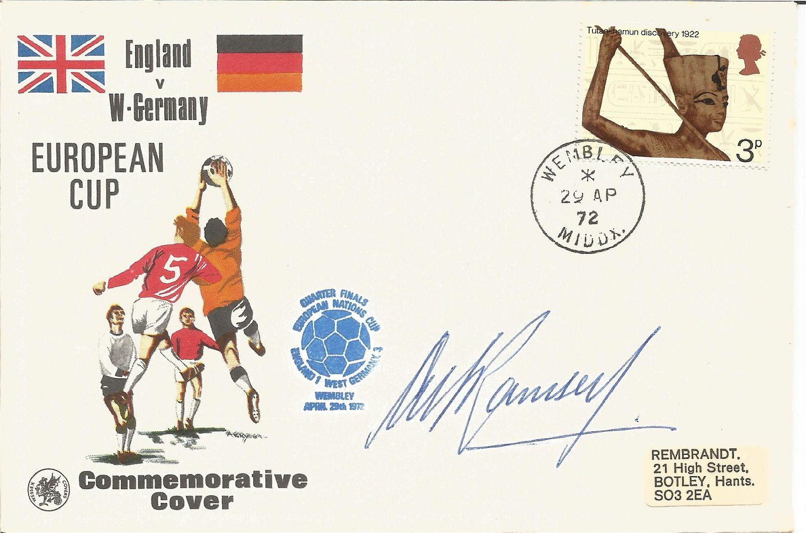 Sir Alf Ramsey signed 1972 England v Germany FDC. Good