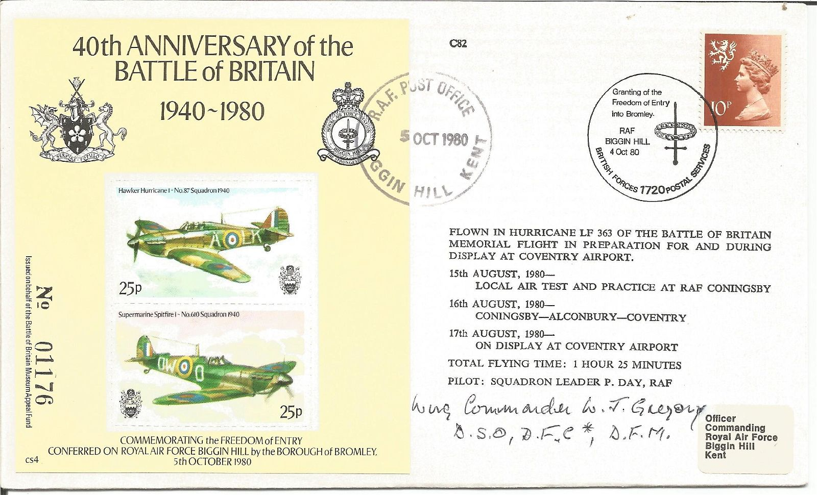 WW2 Battle of Britain pilot Wg Cdr W Gregory DSO DFC