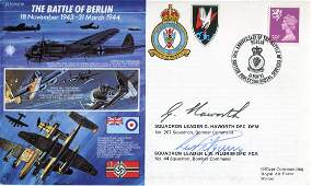 WW2 RAF Bomber pilots. Battle of Berlin cover signed by
