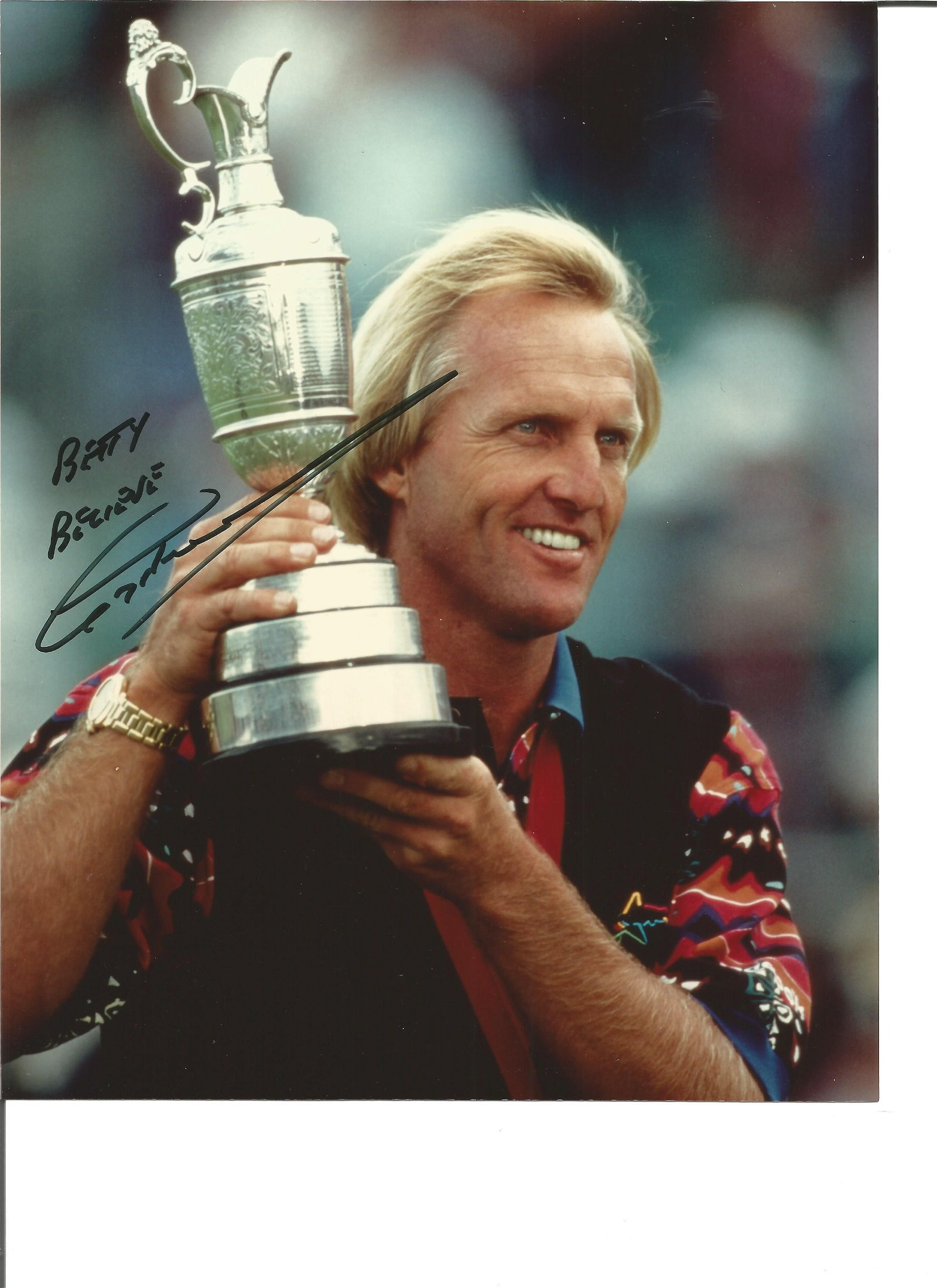 Greg Norman dedicated signed 10x8 colour photo Golfer.