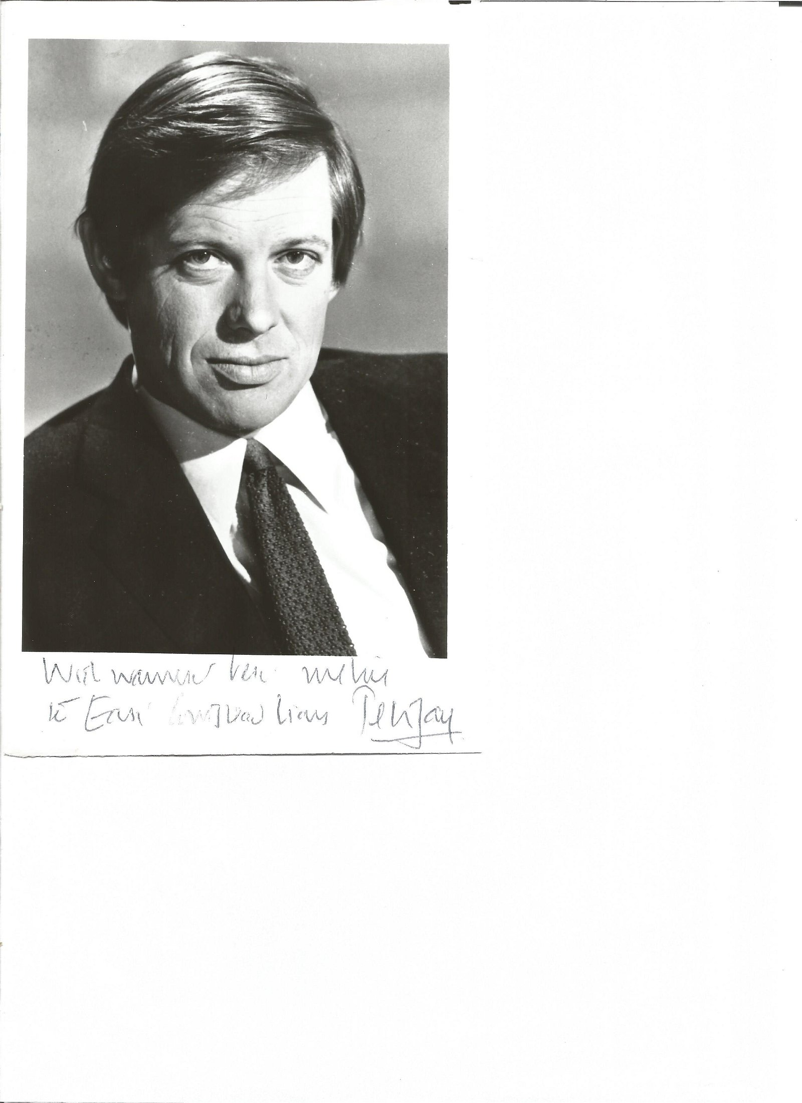 Peter Jay signed 7 x 5 black and white photo with