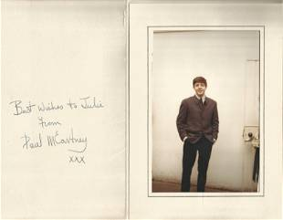 Paul McCartney signed greeting card mount with young