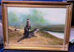 Otters original oil painting on canvas in attractive