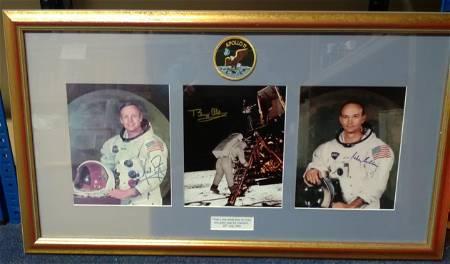 Apollo XI three 10 x 8 colour photos signed by Neil