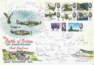 Battle of Britain fighter pilots multiple signed 1965
