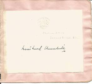 Winston Churchill signed white page embossed with