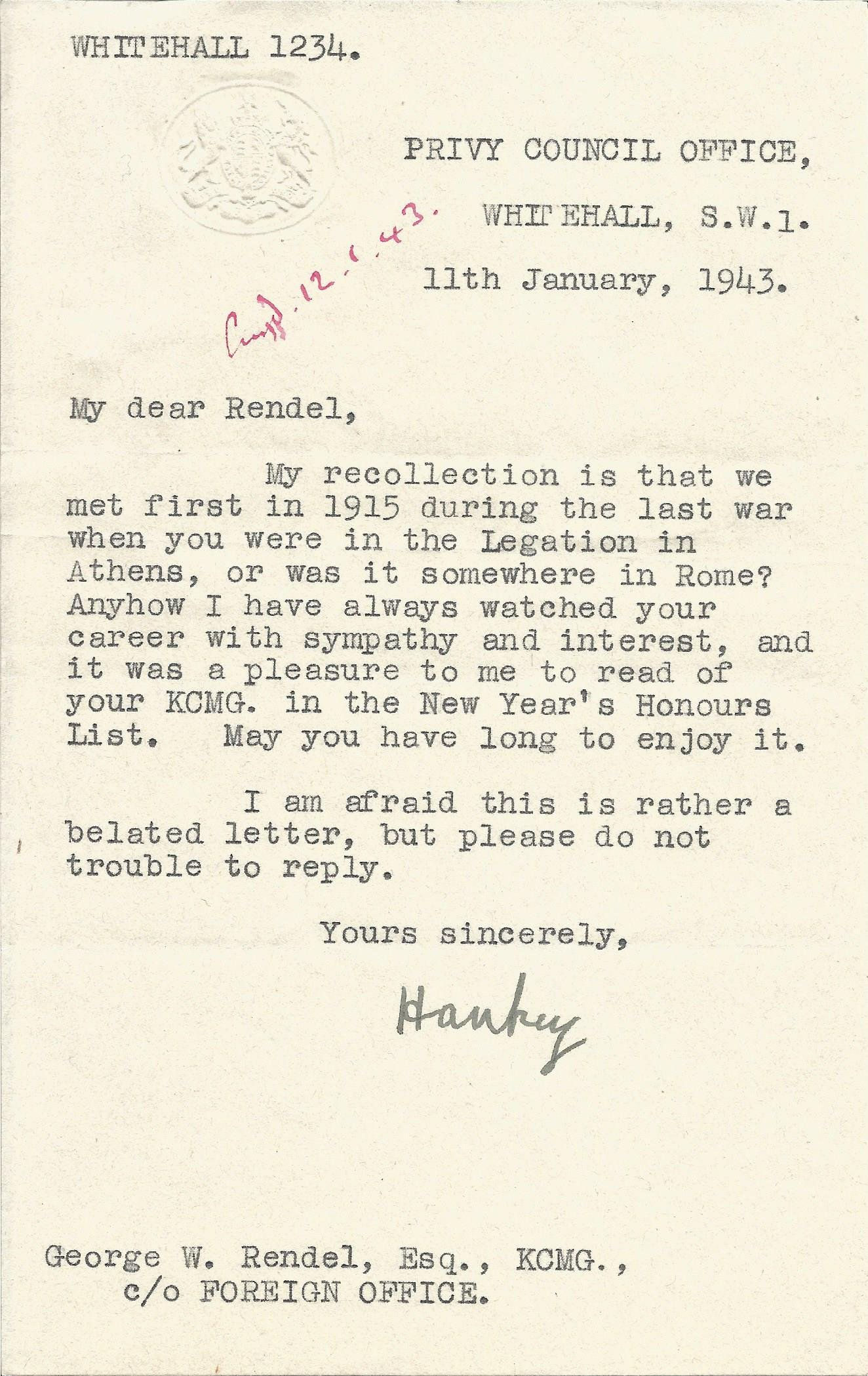 Lord Hankey 1943 typed signed letter on Privy Council