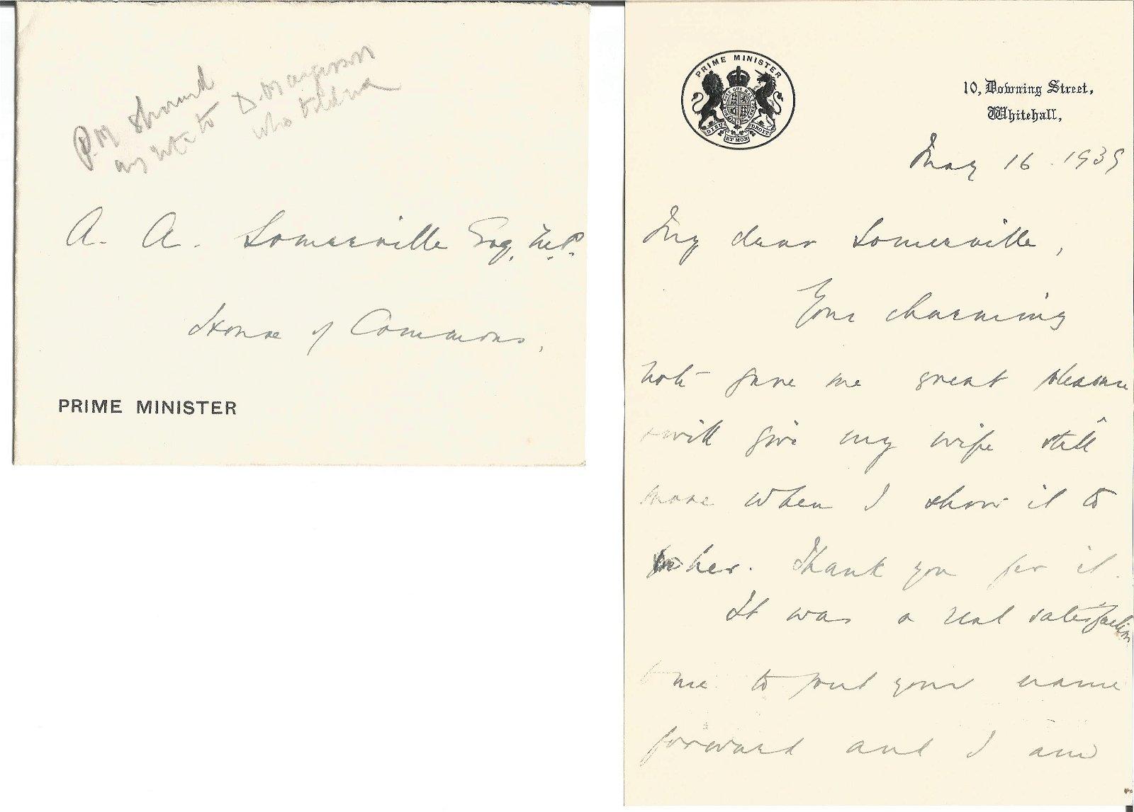 Neville Chamberlain, 16th May 1939 hand written letter