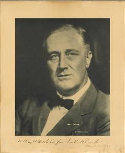 President Franklin D Roosevelt signed superb head and