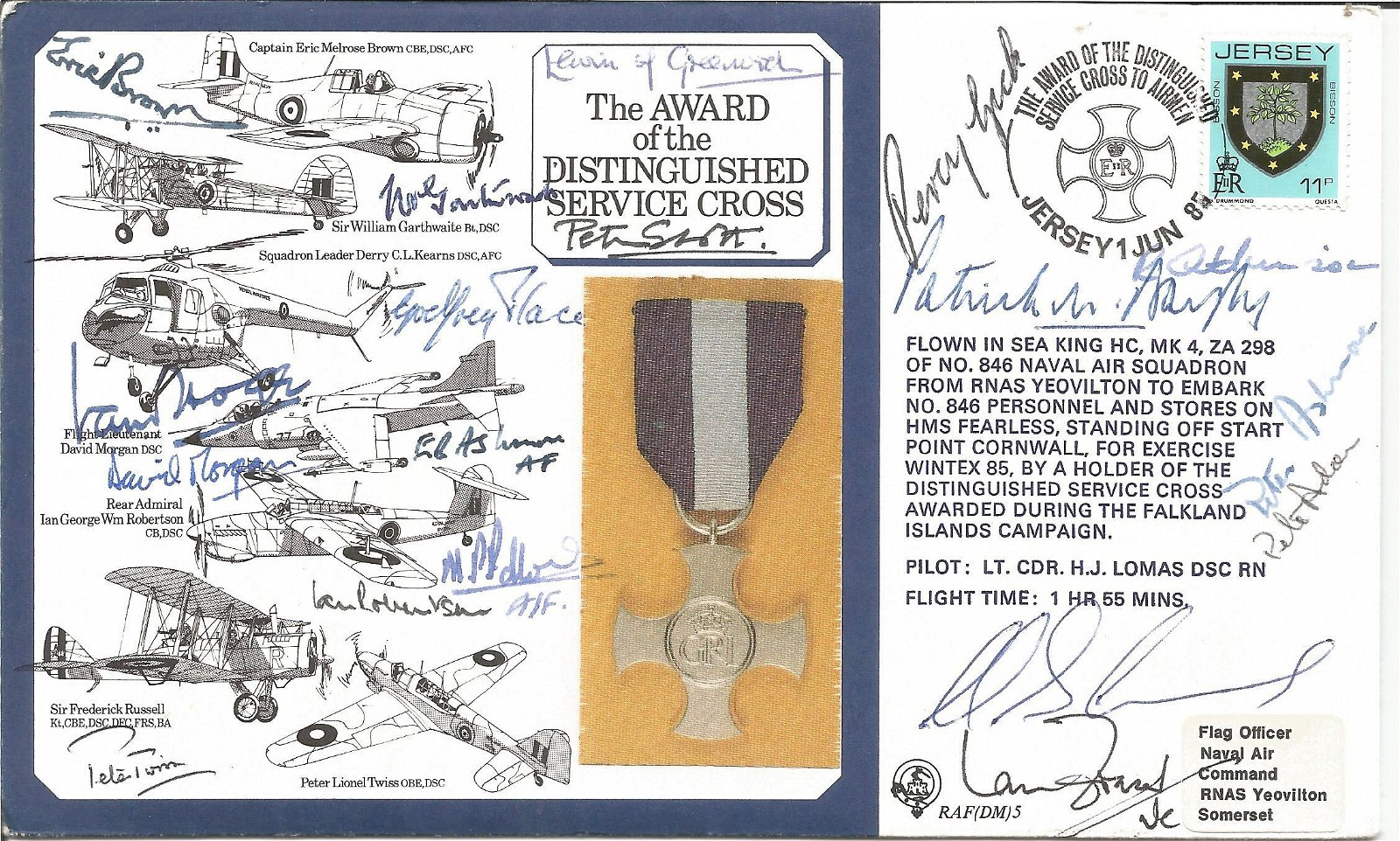 WW2 Award of Distinguished Service Cross cover signed