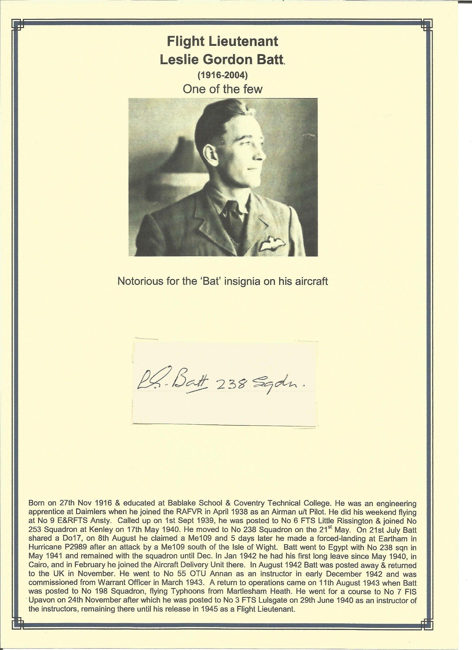 Flight Lieutenant Leslie Gordon Batt Ae signature