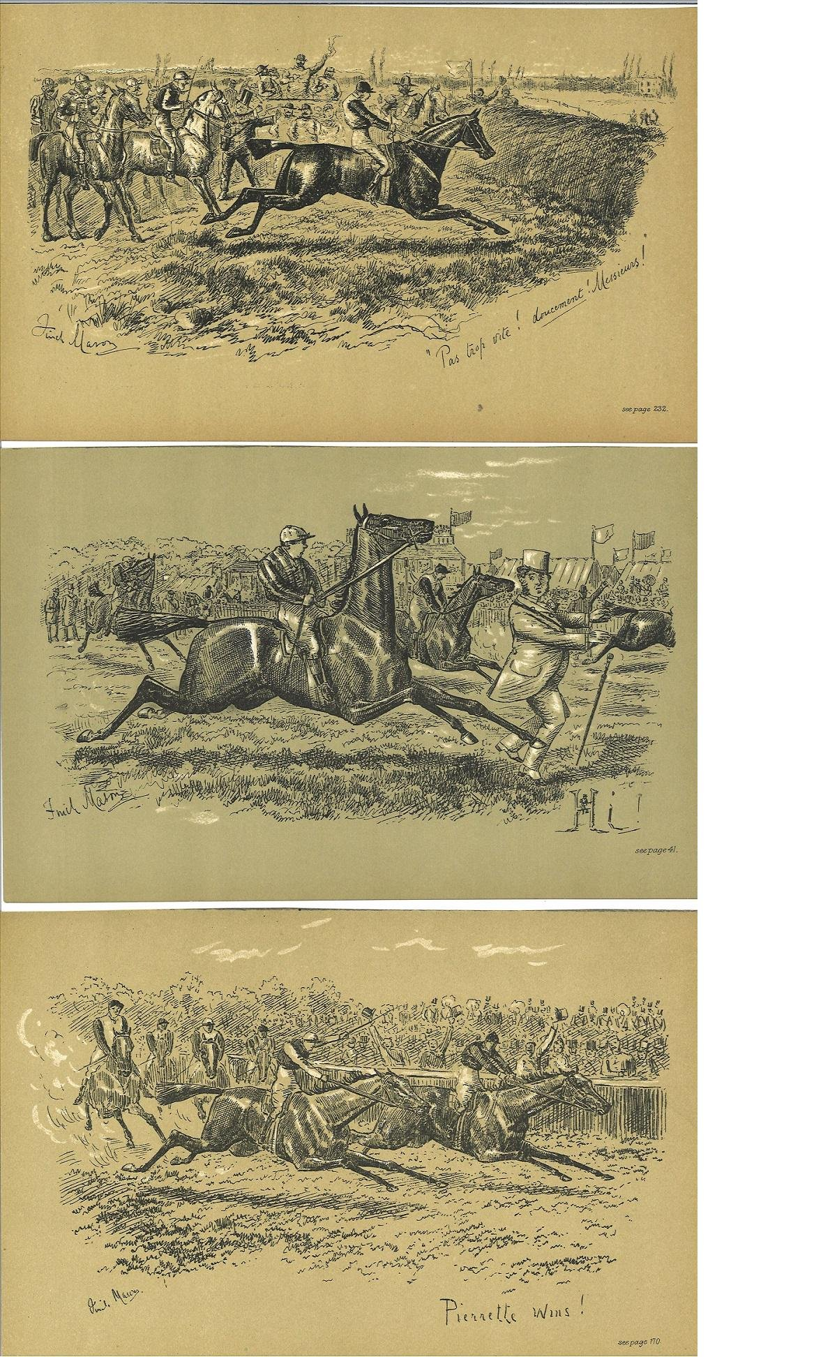 Horse Racing Fires Sporting Sketches collection of