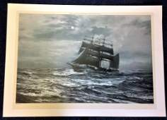 Nautical print 30x42 approx titled Silvery Night by the