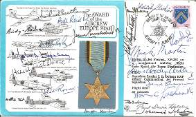 WW2 Award of Aircraft Europe Star cover signed by 22