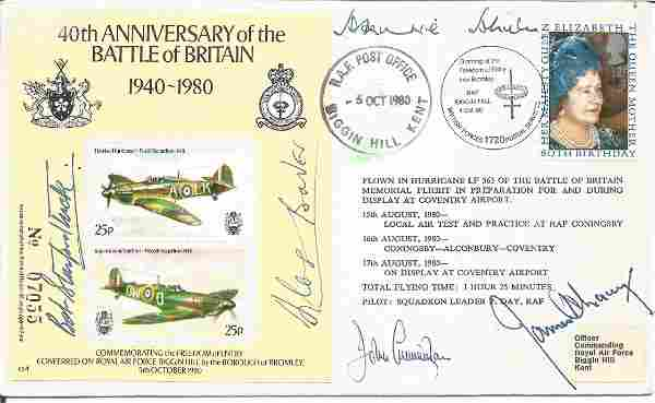 Five Top Battle of Britain aces signed 40th ann BOB