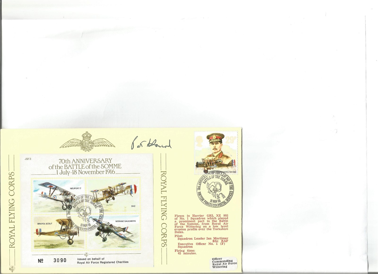 Wg Cdr N P W Hancock signed Joint Service Fighter cover