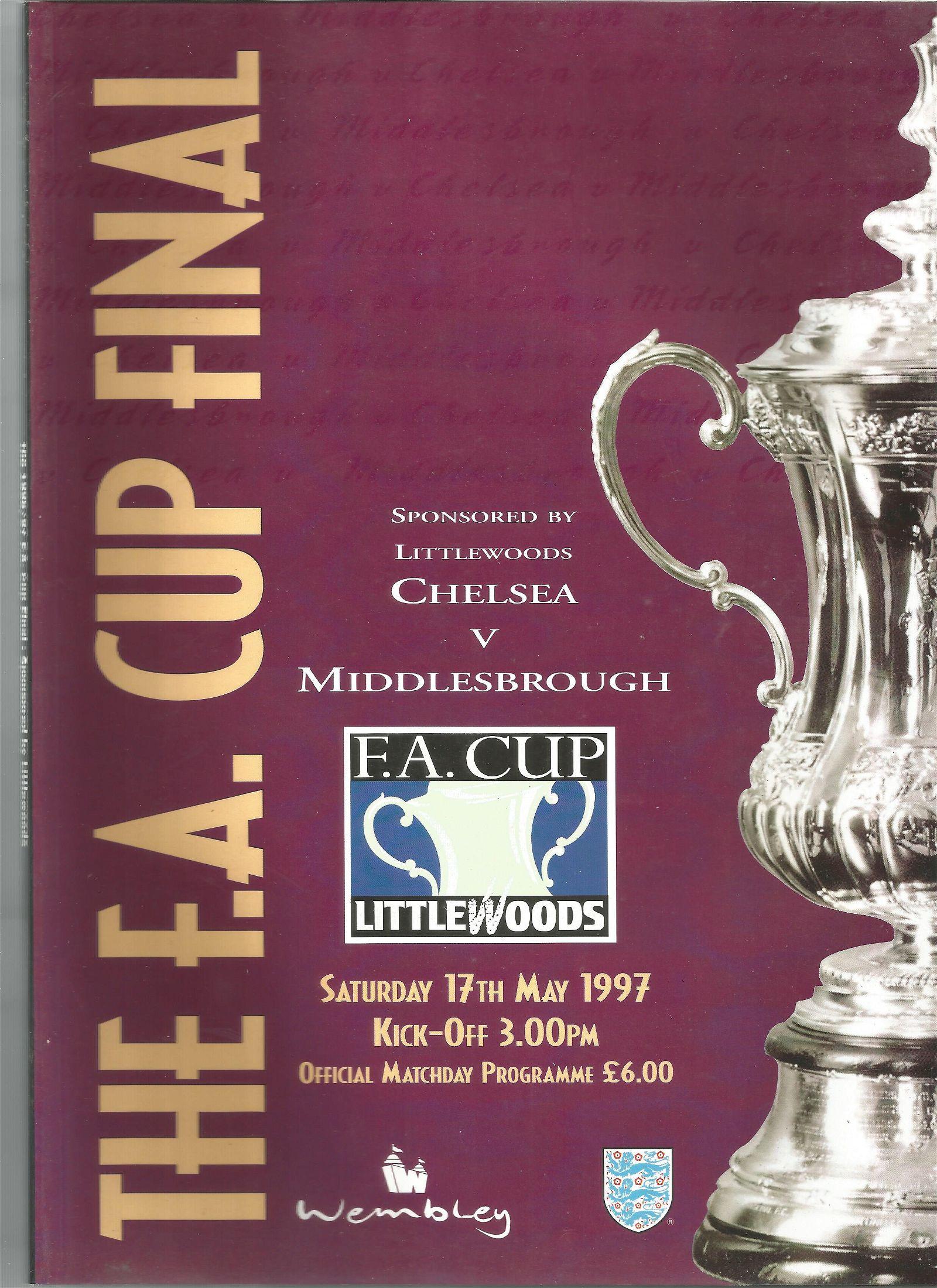 Football vintage programme Chelsea v Middlesbrough FA