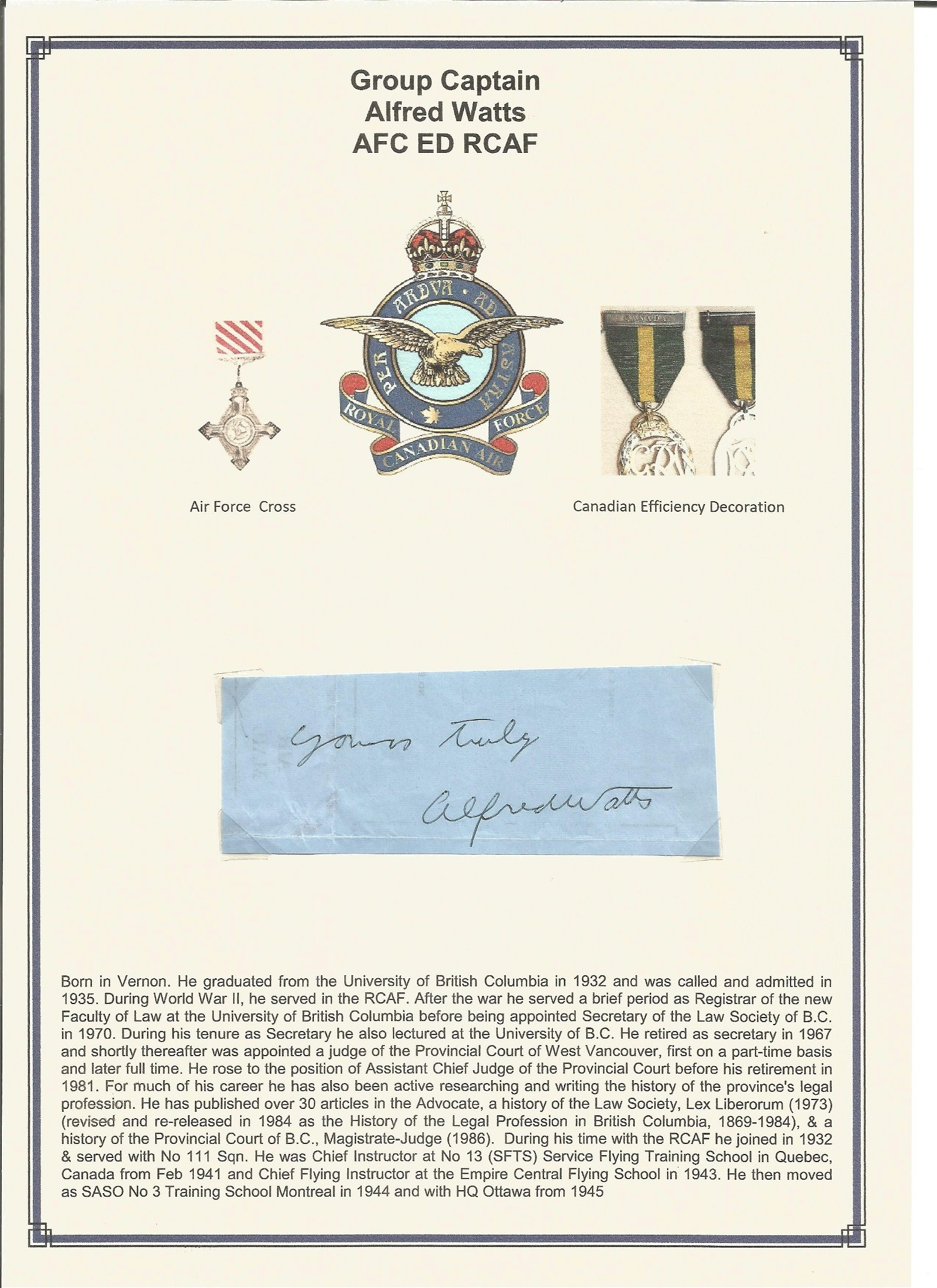 Group Captain Alfred Watts AFC ED RCAF signed small