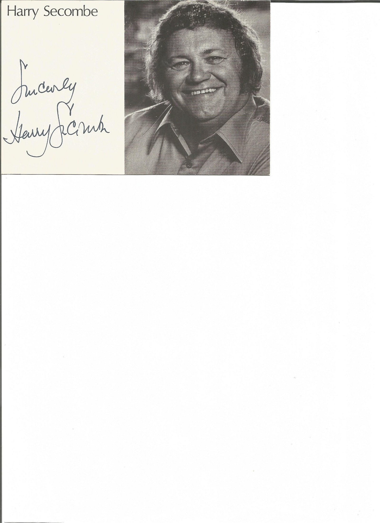 Harry Secombe signed 6x4 black and white photo. Good