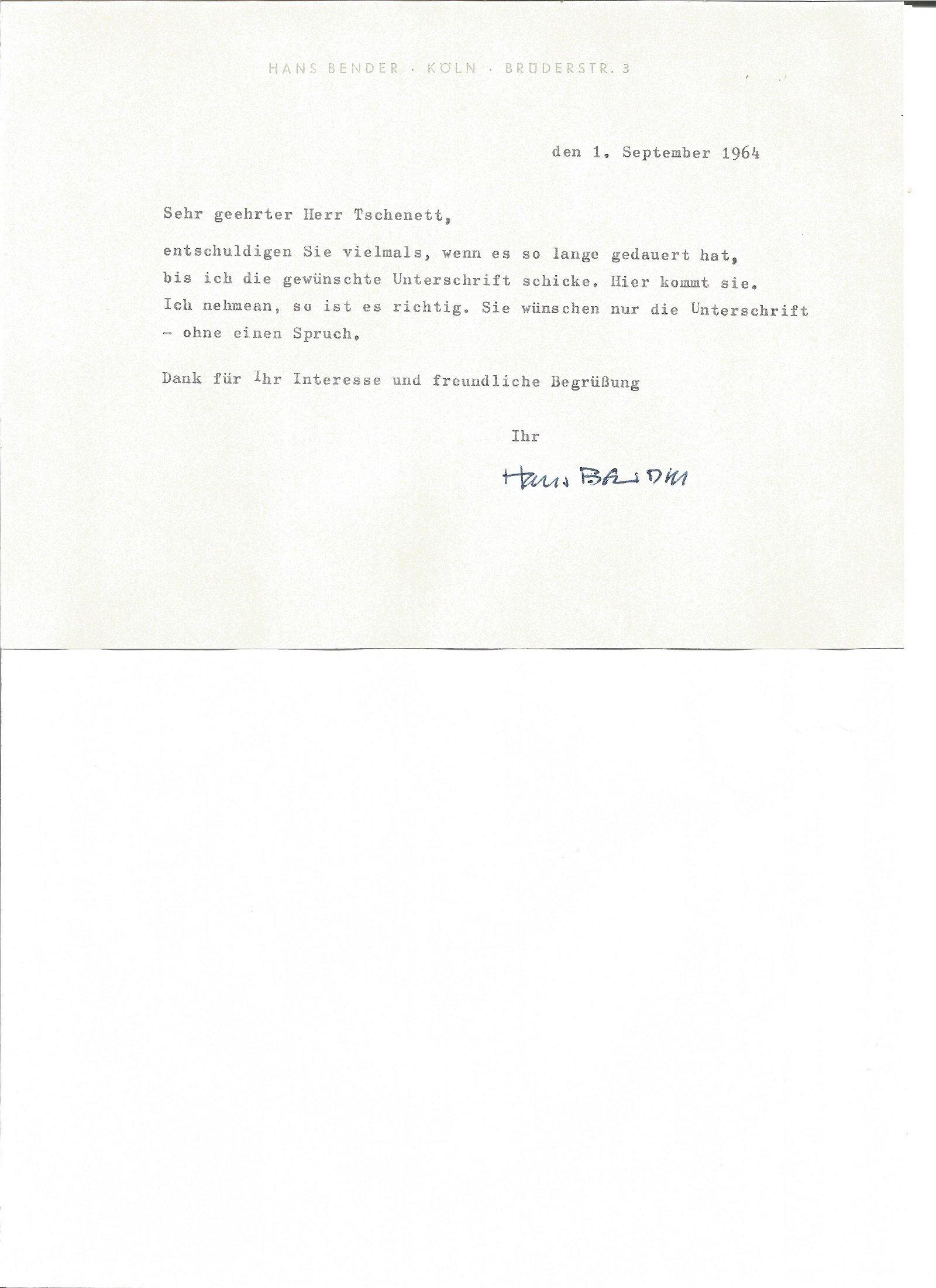 Hans Bender hand signed 1964 letter replying in German