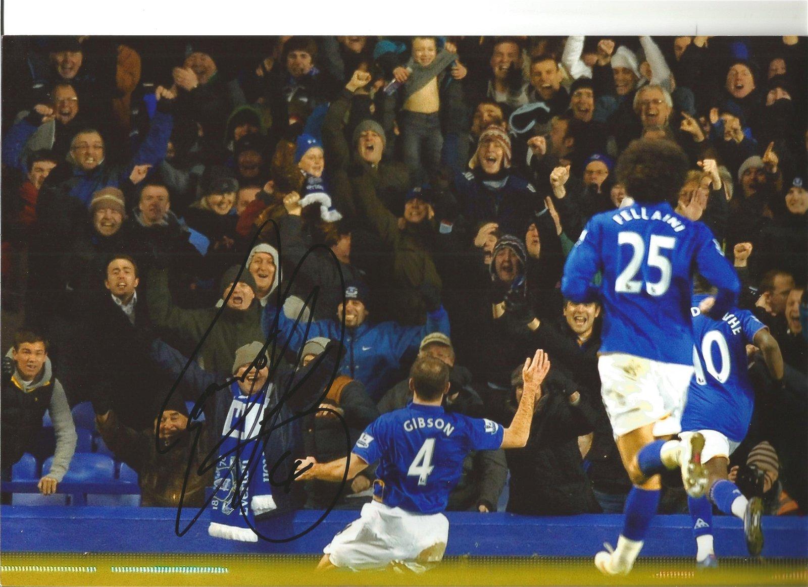 Darron Gibson Everton Signed 12 x 8 inch football