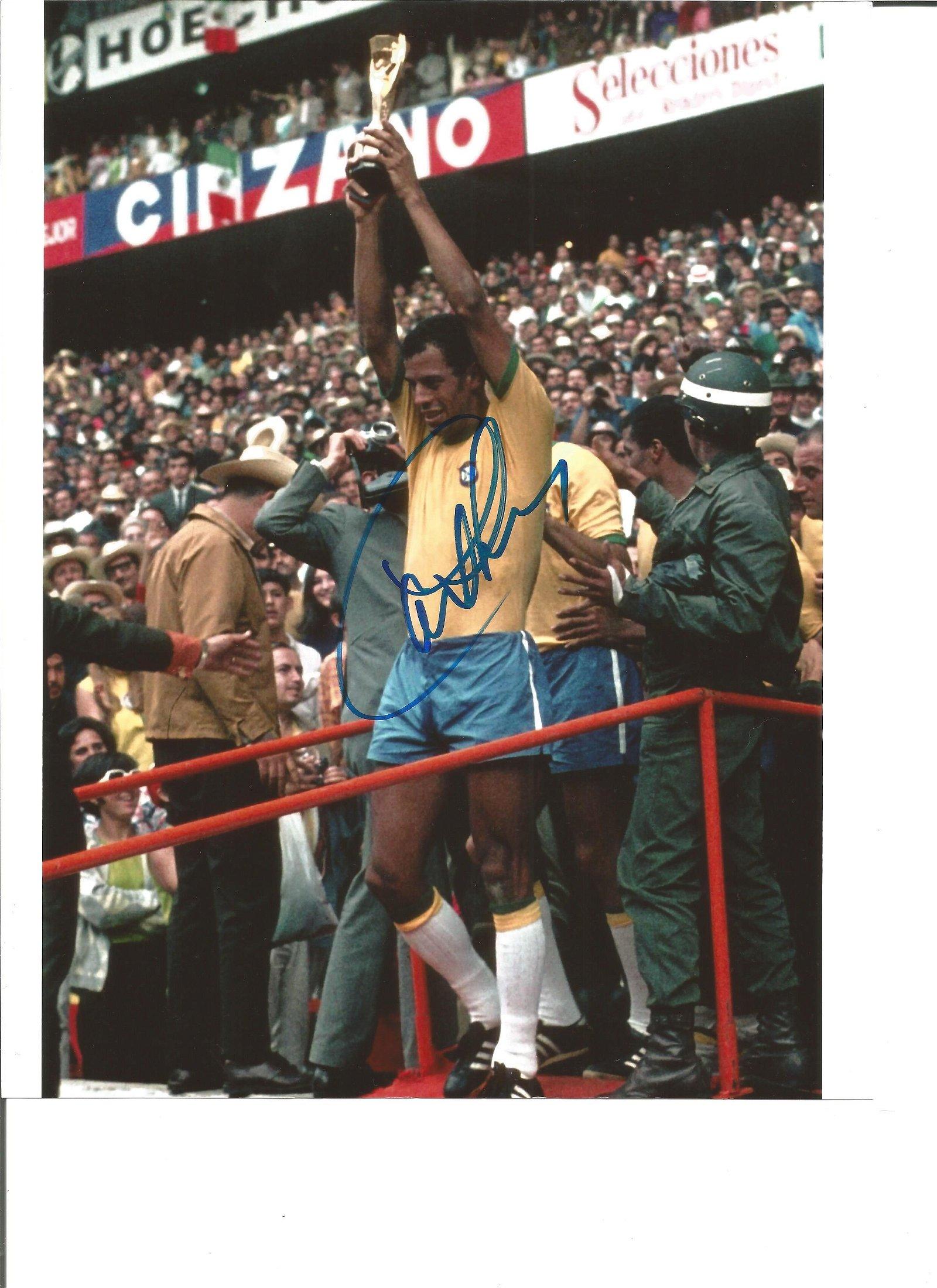 Carlos Alberto Brazil Signed 10 x 8 inch colour