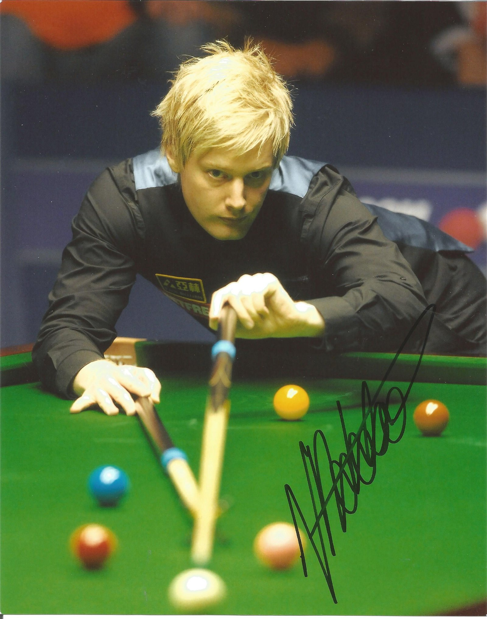 Neil Robertson Snooker signed 10x8 action shot colour