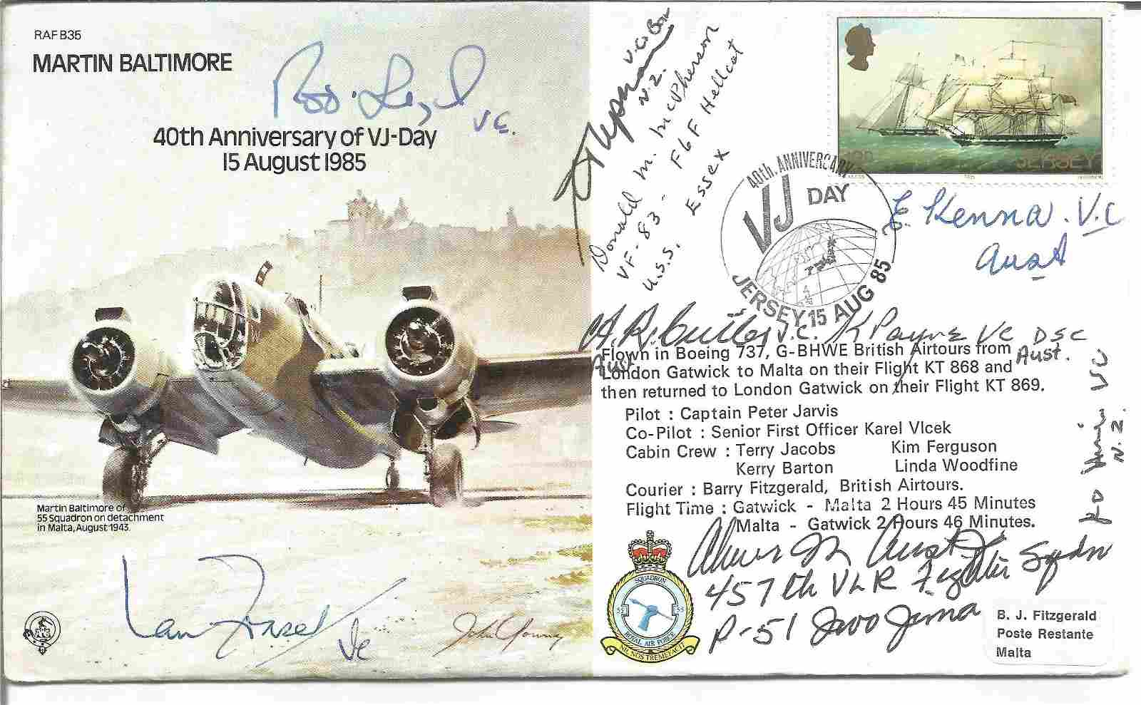 WW2 Charles Upham VC and Bar signed RAF bomber cover,