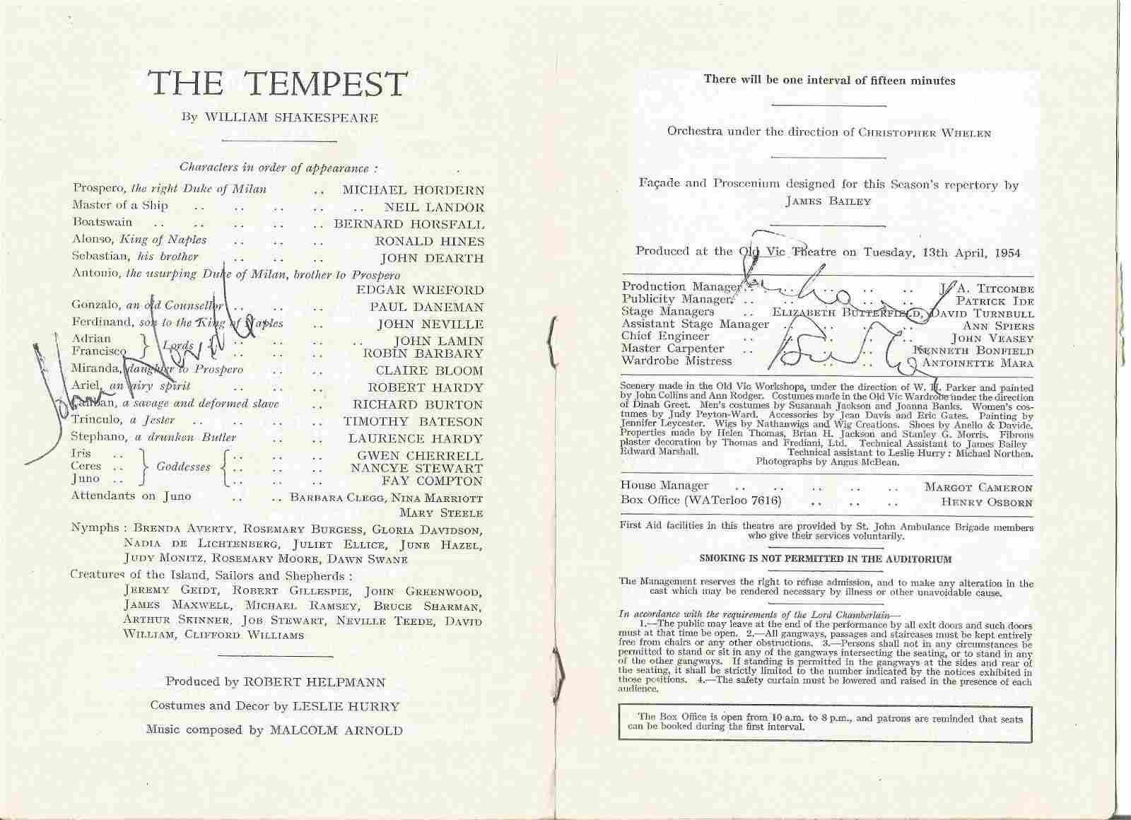 Richard Burton signed cast page of vintage theatre