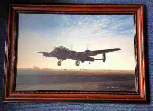 World War Two print 35x26 framed pictured Lancaster