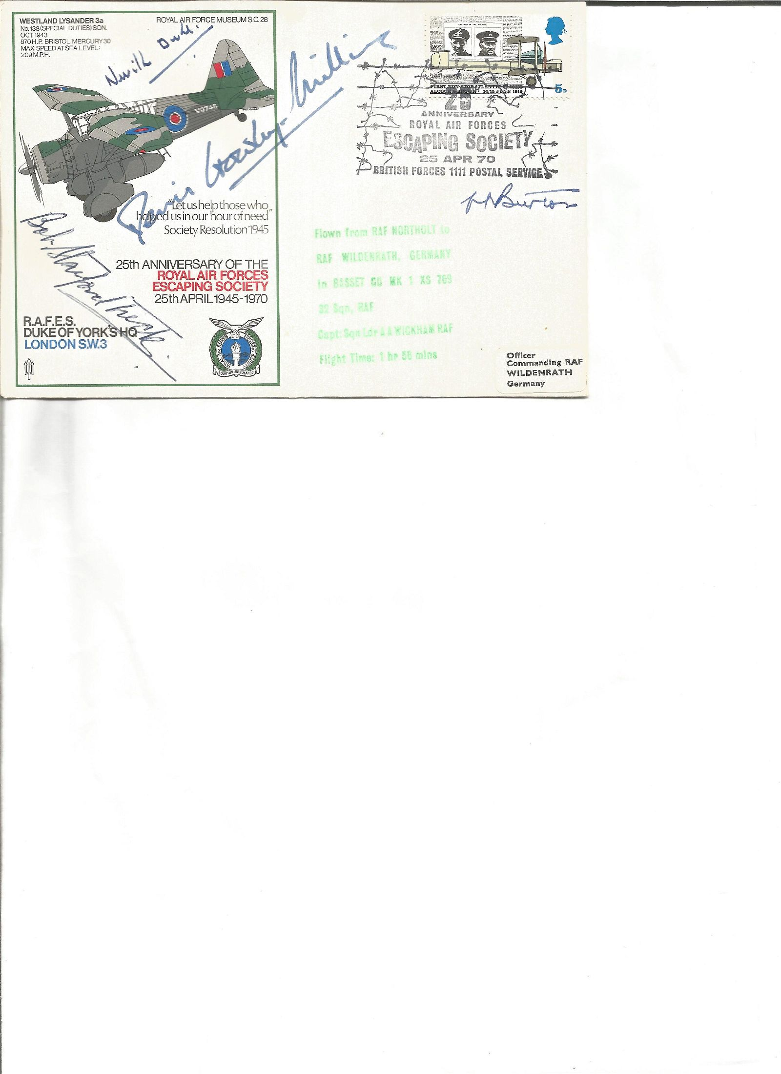 Rare WW2 RAF Escaping Society multiple signed cover.