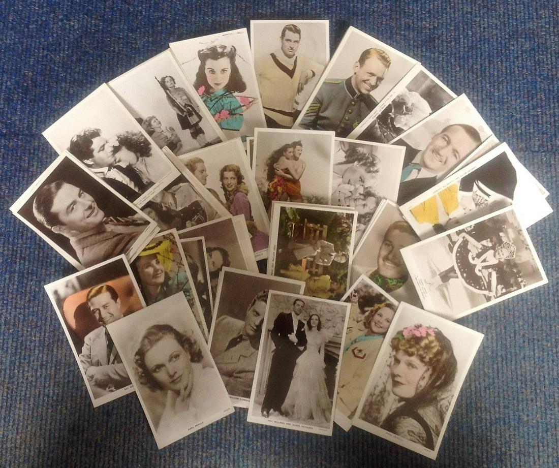 Vintage film star postcard collection. 30+ cards