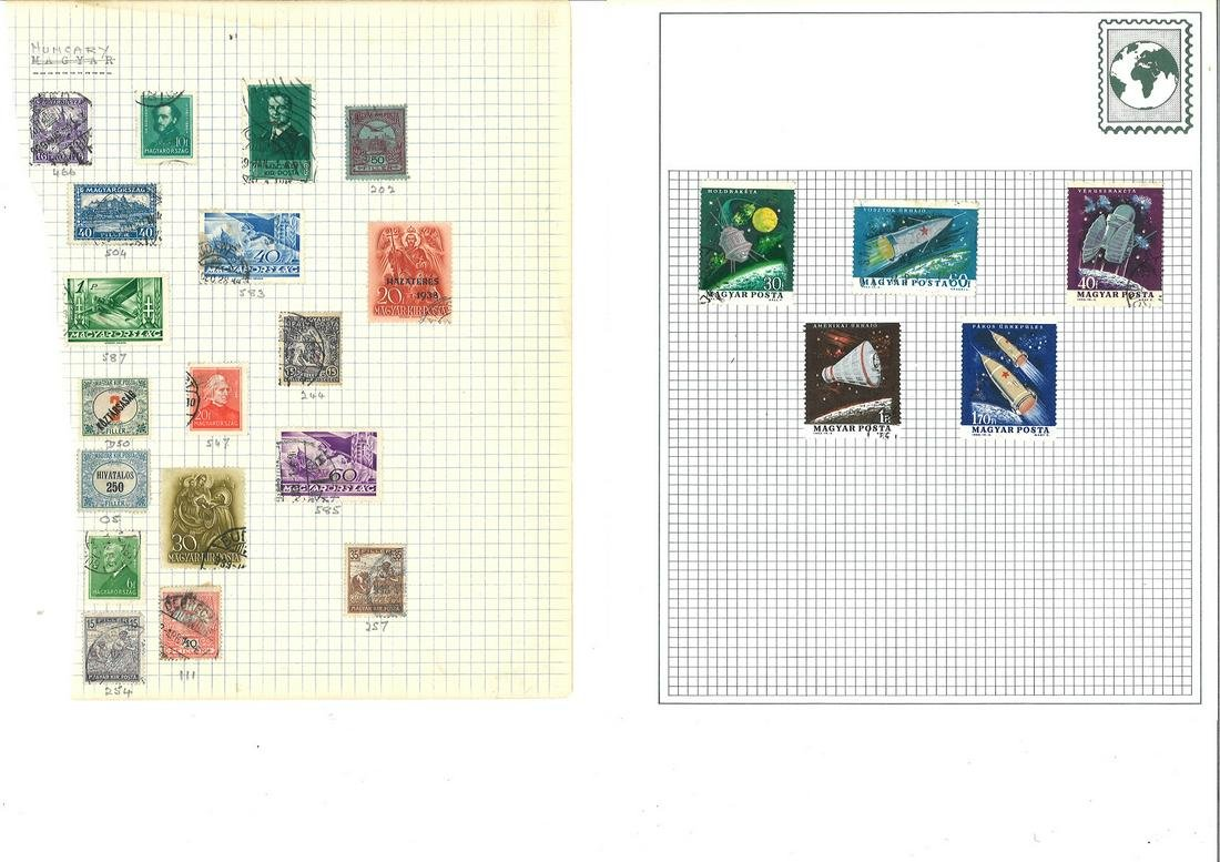 World stamp collection over 16 loose sheets. 80+ stamps