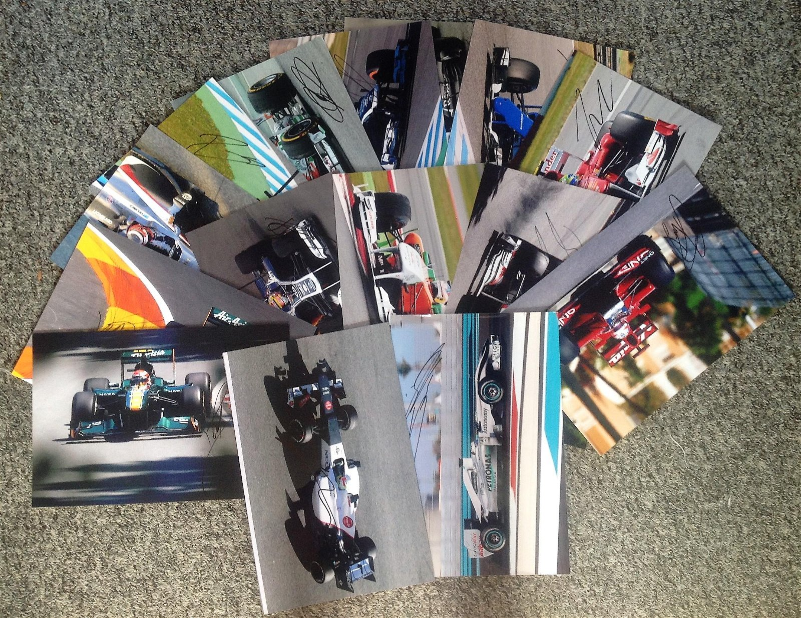 Motor Racing 15 assorted signed colour photos names
