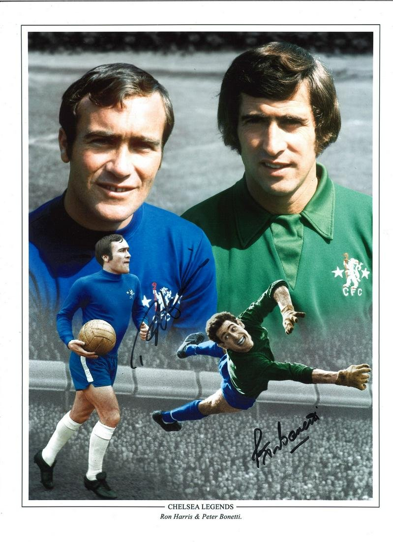 Ron Harris and Peter Bonetti Chelsea Signed 16 x 12