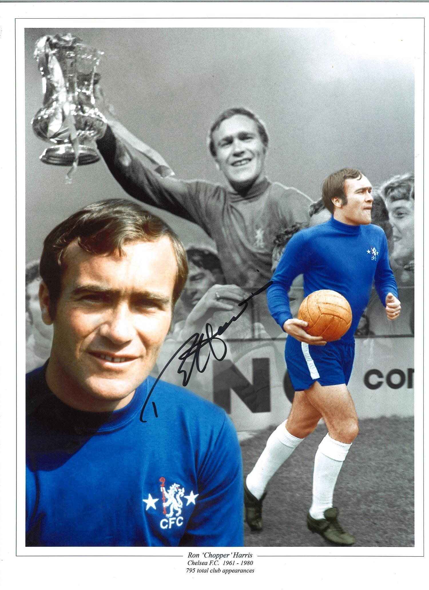 Ron Harris Chelsea Signed 16 x 12 inch football photo.