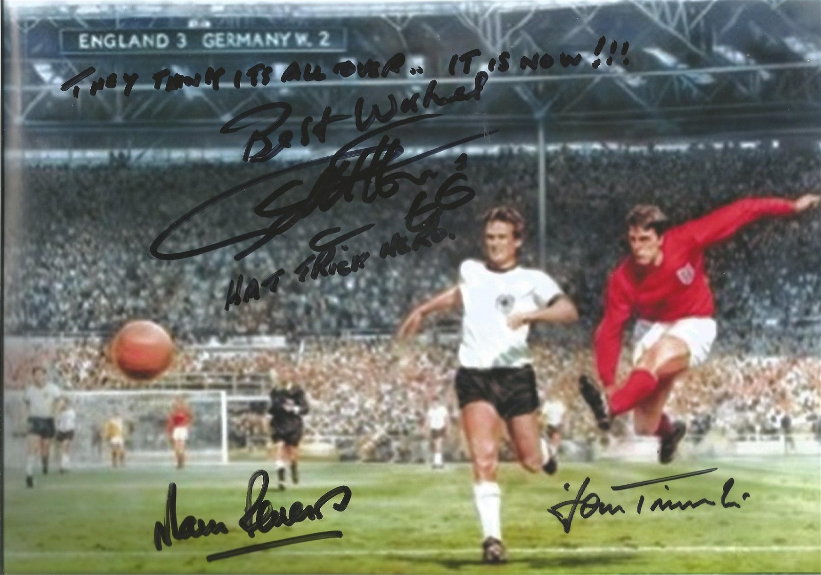 1966 Geoff Hurst, Martin Peters and one other signed 12
