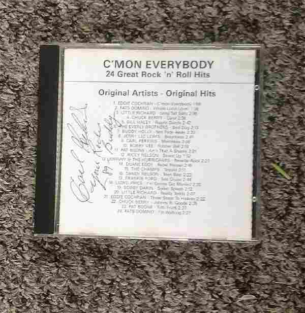 Carl Perkins signed DVD insert for C'Mon Everybody.