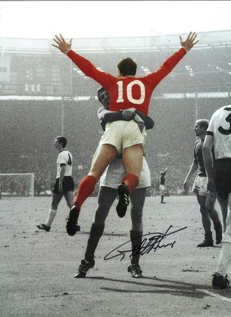 Geoff Hurst 66 England Signed 16 x 12 inch football